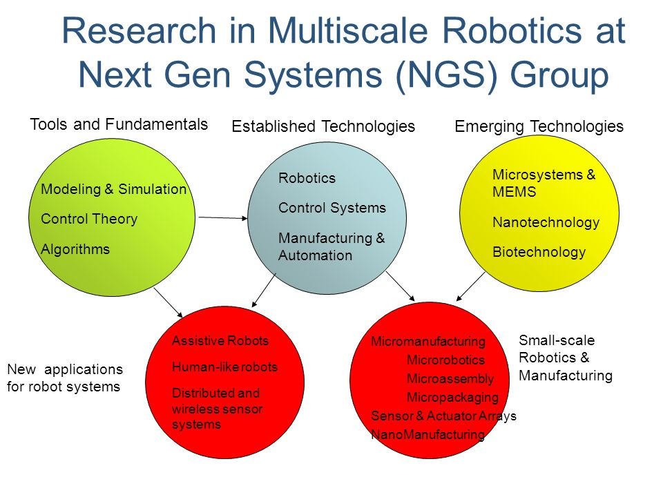 Research in Multiscale Robotics at Next Gen Systems (NGS) Group
