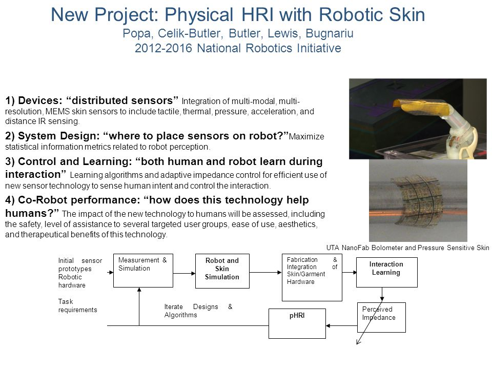 New Project: Physical HRI with Robotic Skin Popa, Celik-Butler, Butler, Lewis, Bugnariu 2012-2016 National Robotics Initiative