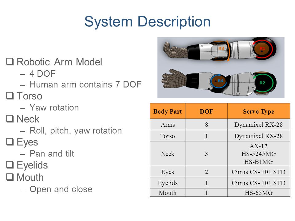 System Description Robotic Arm Model Torso Neck Eyes Eyelids Mouth