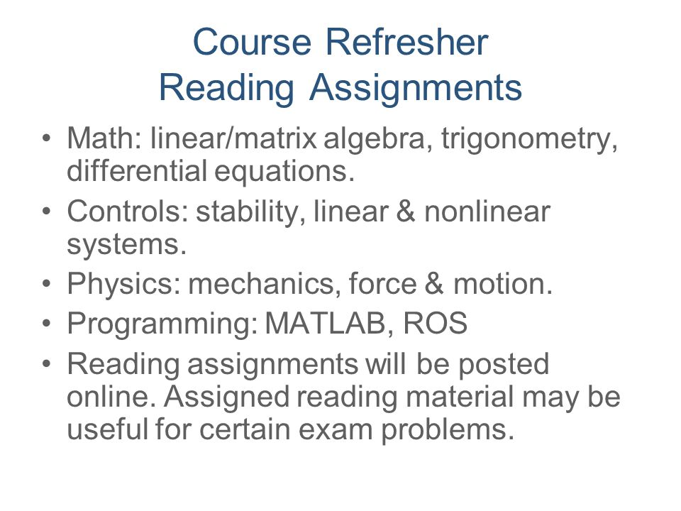 Course Refresher Reading Assignments
