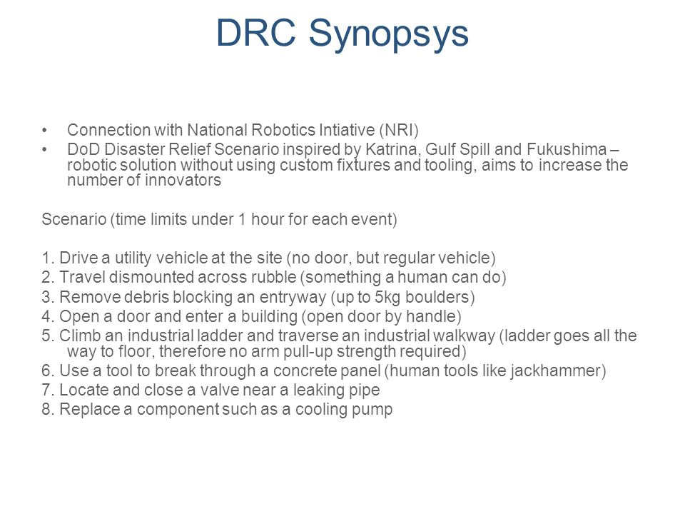 DRC Synopsys Connection with National Robotics Intiative (NRI)
