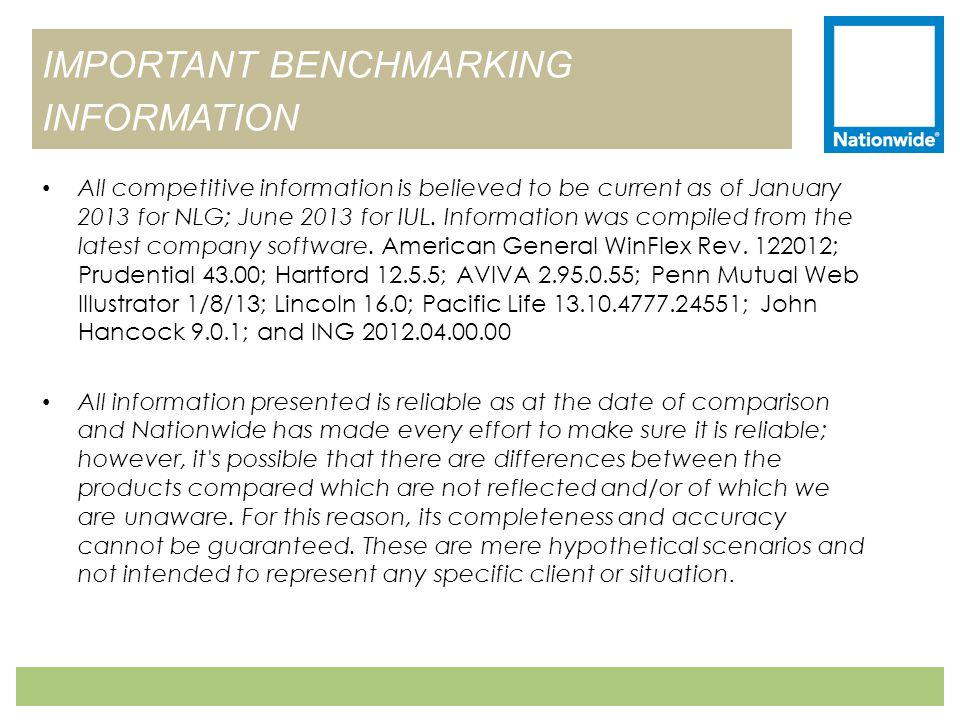 IMPORTANT BENCHMARKING INFORMATION