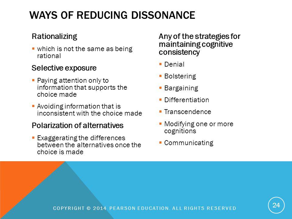 Ways of reducing dissonance
