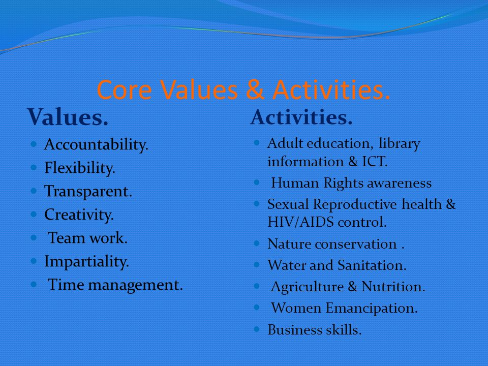 Core Values & Activities.