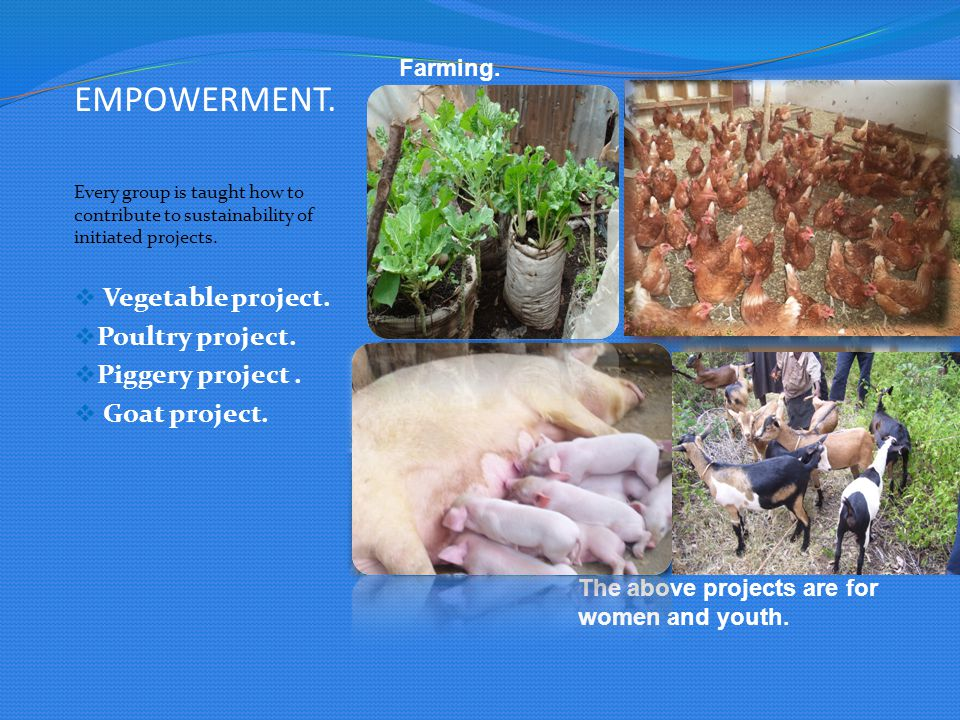 EMPOWERMENT. Vegetable project. Poultry project. Piggery project .
