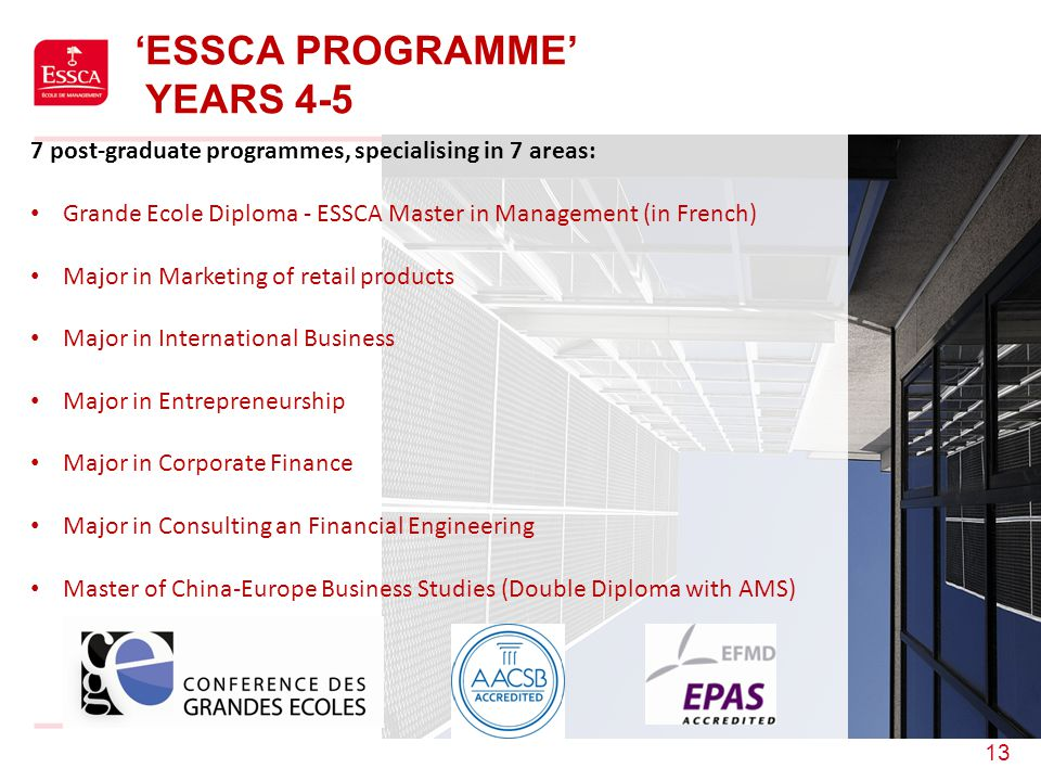 'ESSCA PROGRAMME' YEARS 4-5