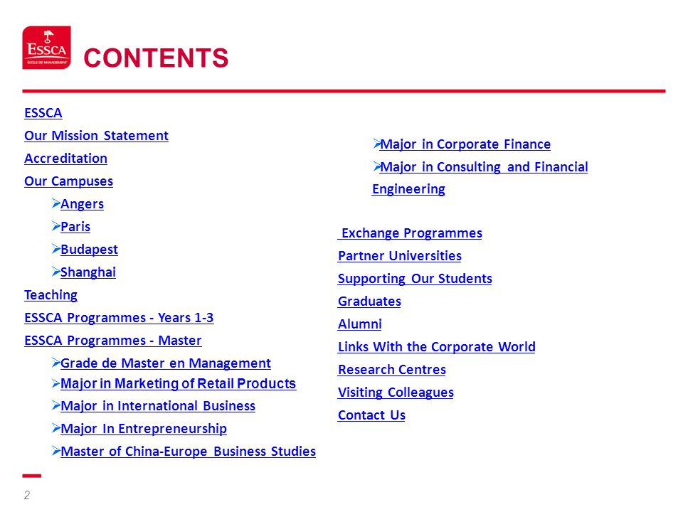 Contents ESSCA Our Mission Statement Accreditation