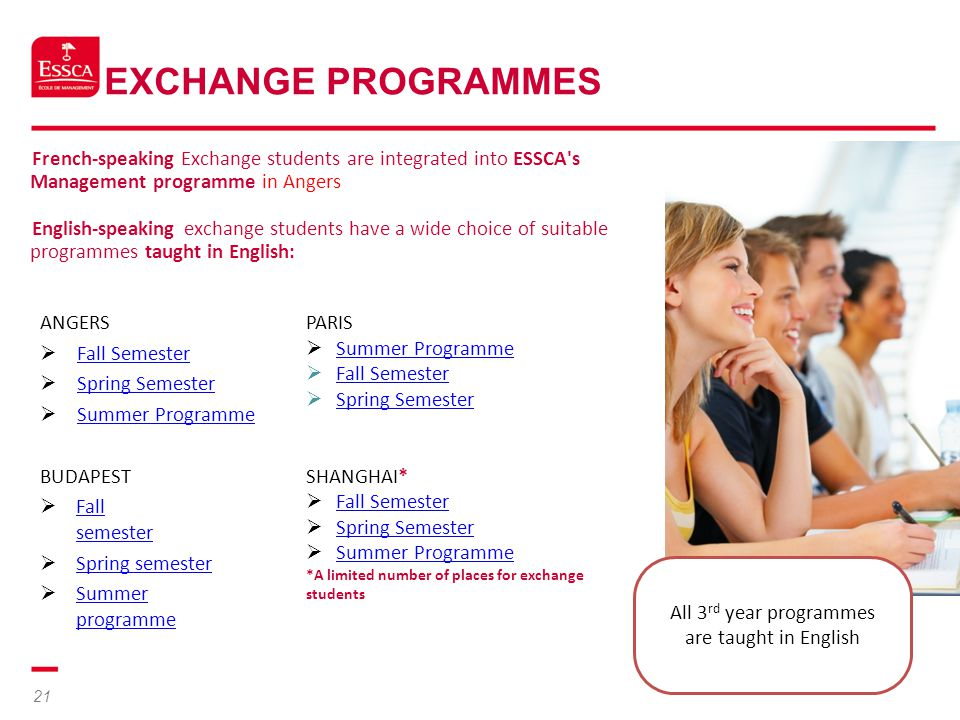 All 3rd year programmes are taught in English
