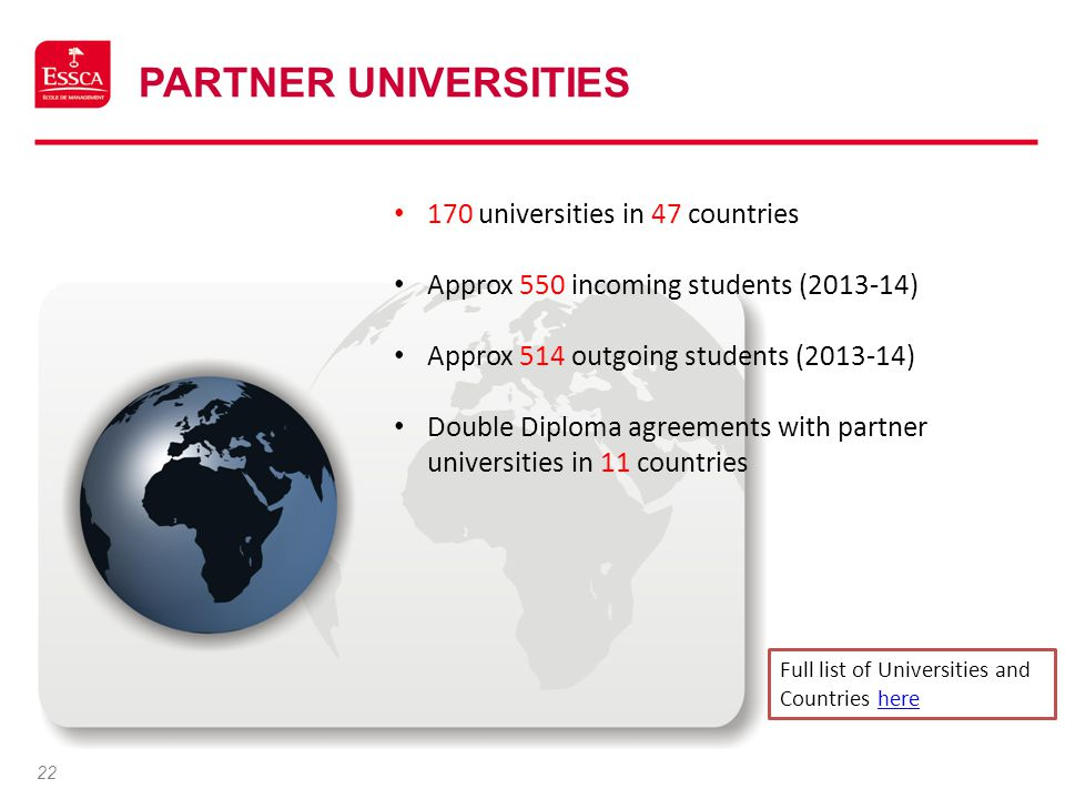 Partner Universities 170 universities in 47 countries