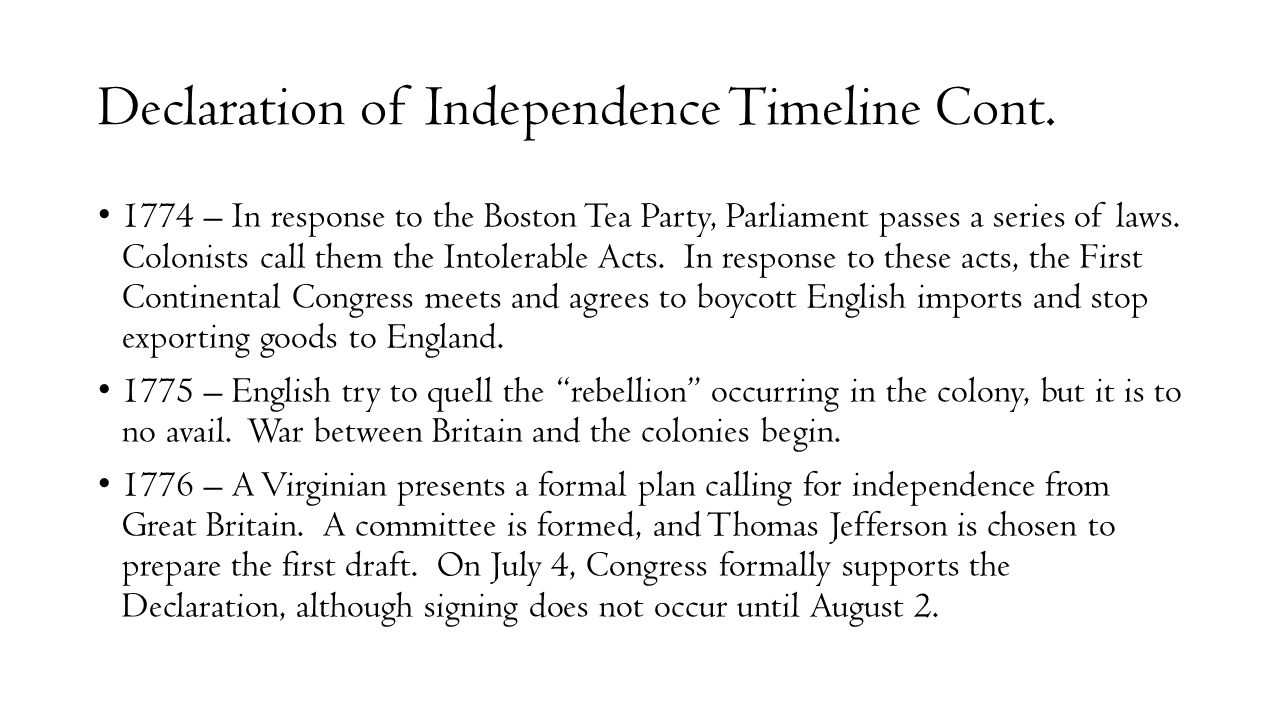 Declaration of Independence Timeline Cont.