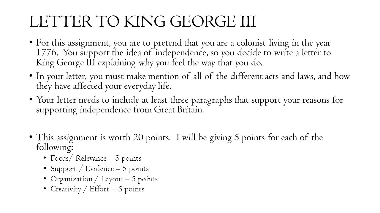 LETTER TO KING GEORGE III