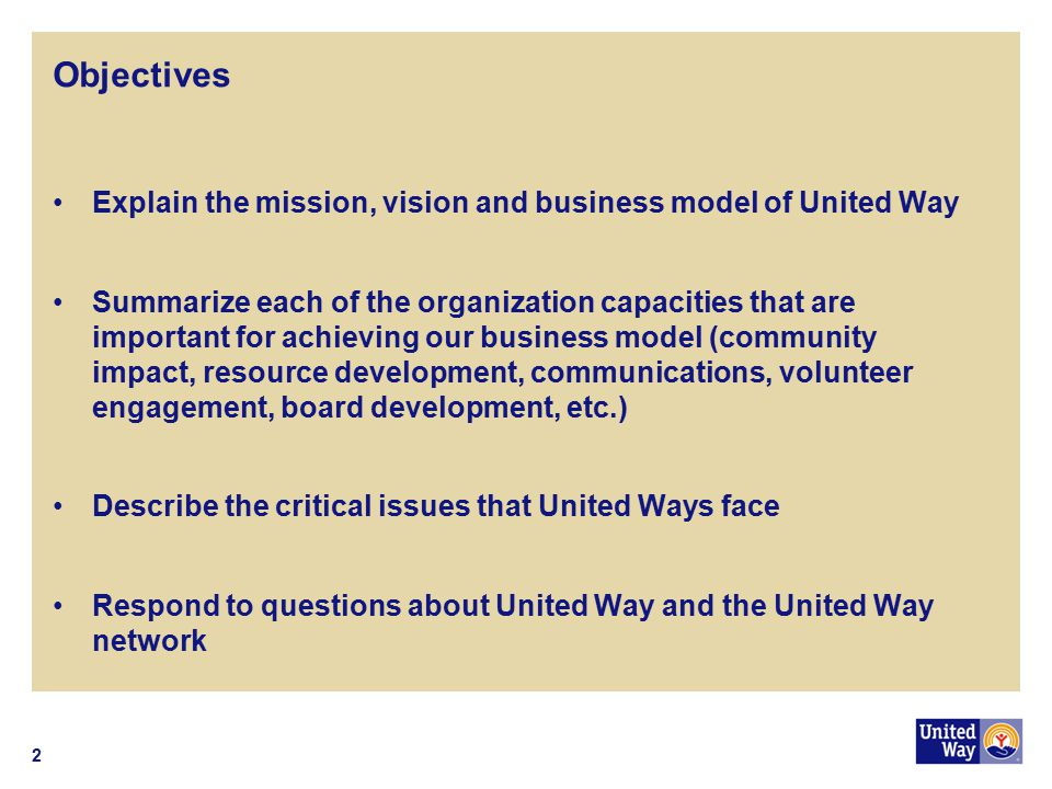Objectives Explain the mission, vision and business model of United Way.