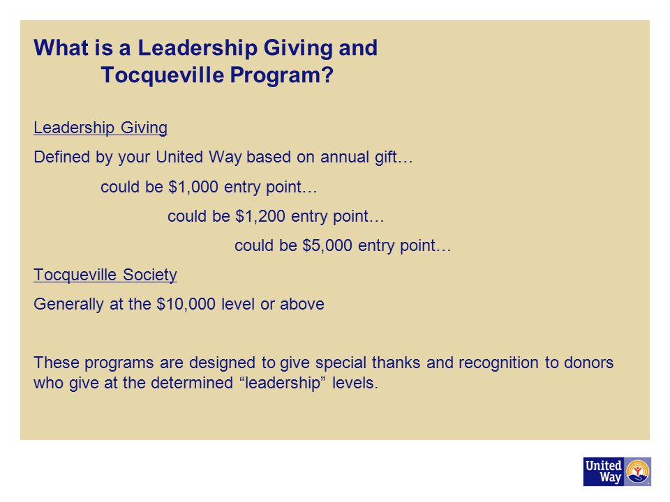 What is a Leadership Giving and Tocqueville Program