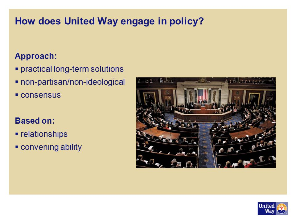 How does United Way engage in policy