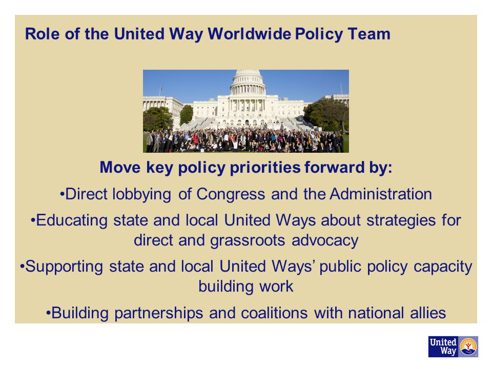Move key policy priorities forward by:
