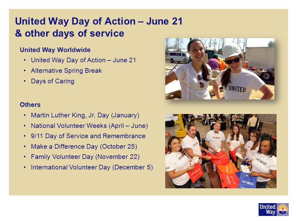 United Way Day of Action – June 21 & other days of service