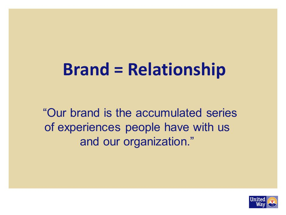 Brand = Relationship Our brand is the accumulated series of experiences people have with us and our organization.