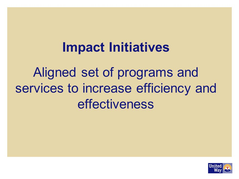 Impact Initiatives Aligned set of programs and services to increase efficiency and effectiveness.