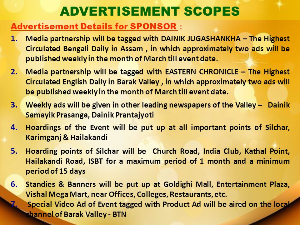 ADVERTISEMENT SCOPES Advertisement Details for SPONSOR :
