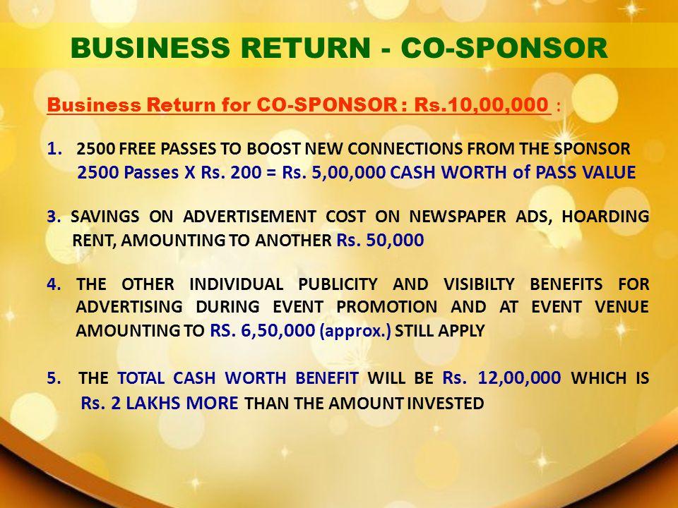 BUSINESS RETURN - CO-SPONSOR