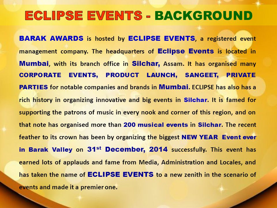 ECLIPSE EVENTS - BACKGROUND