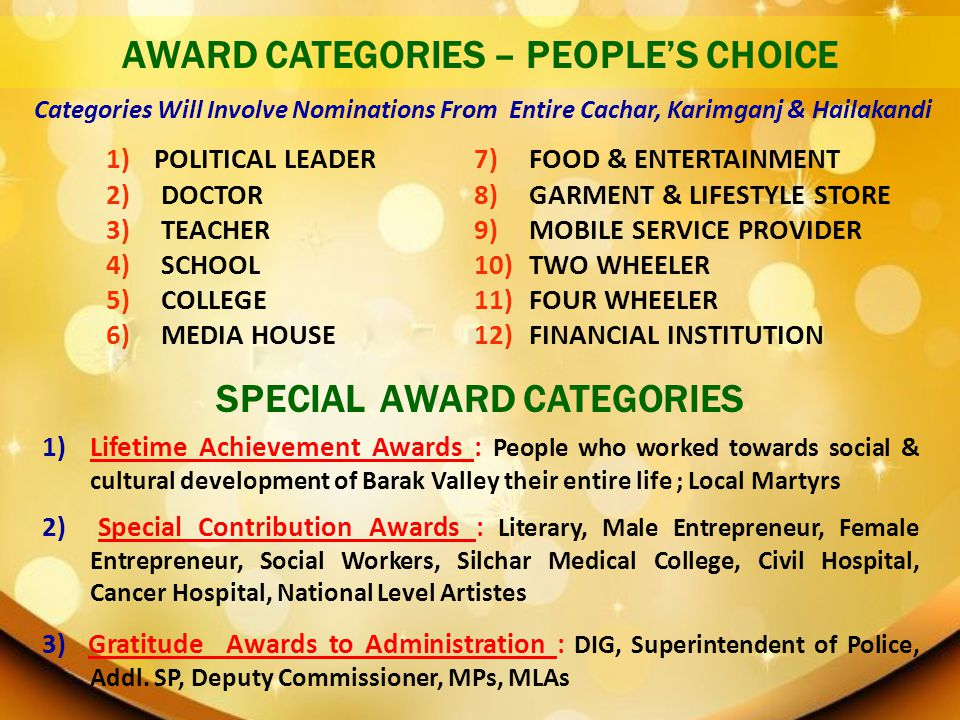 AWARD CATEGORIES – PEOPLE'S CHOICE SPECIAL AWARD CATEGORIES