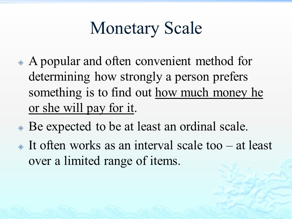 Monetary Scale