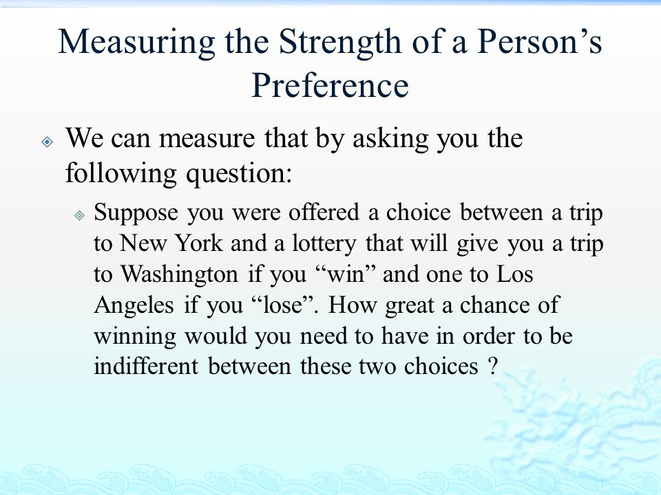 Measuring the Strength of a Person's Preference