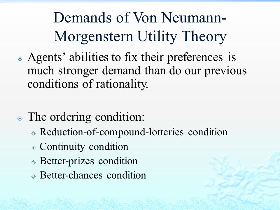 Demands of Von Neumann-Morgenstern Utility Theory