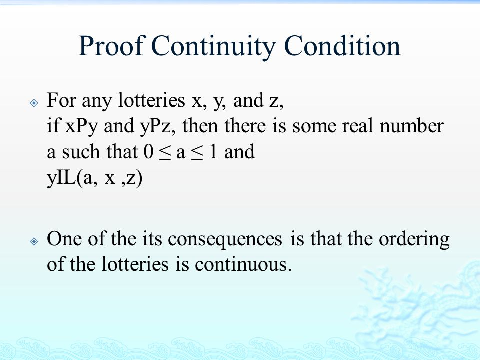 Proof Continuity Condition