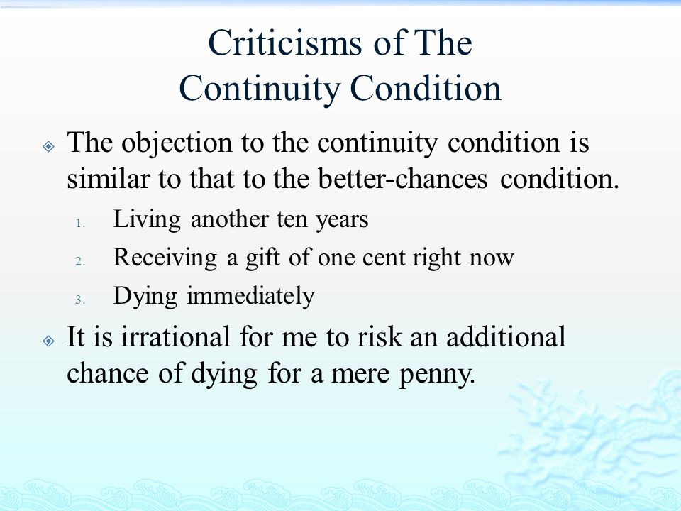 Criticisms of The Continuity Condition