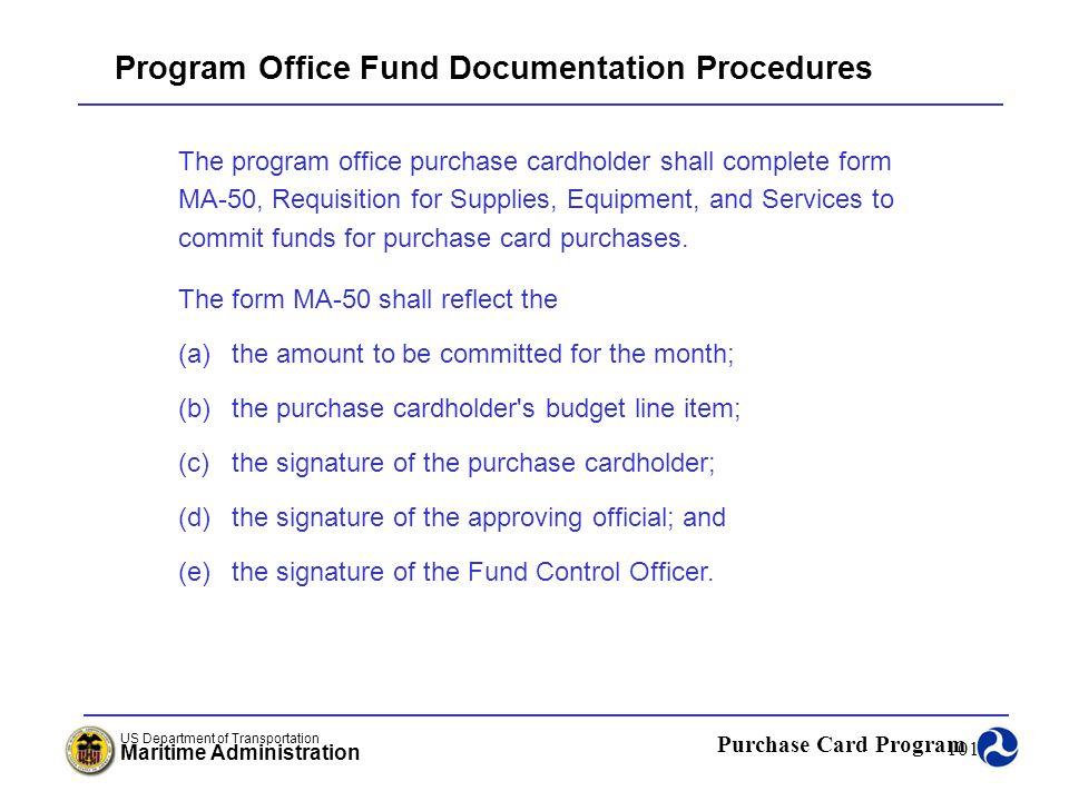 Program Office Fund Documentation Procedures