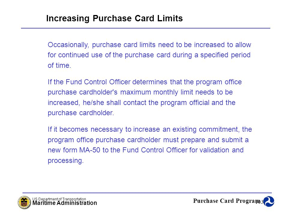 Increasing Purchase Card Limits