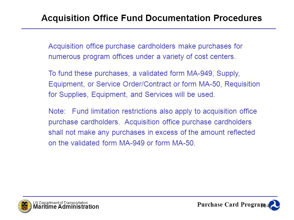 Acquisition Office Fund Documentation Procedures