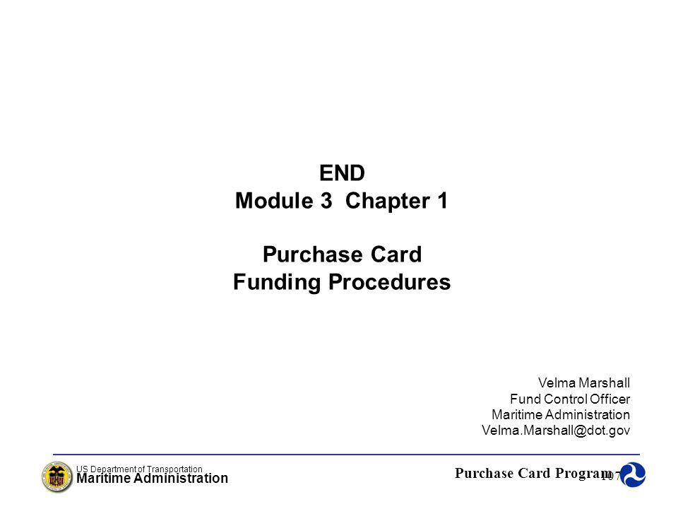 END Module 3 Chapter 1 Purchase Card Funding Procedures