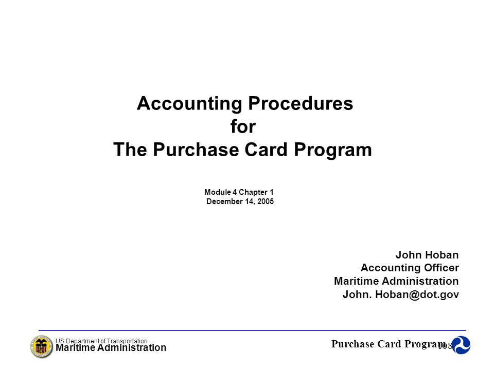 Accounting Procedures The Purchase Card Program