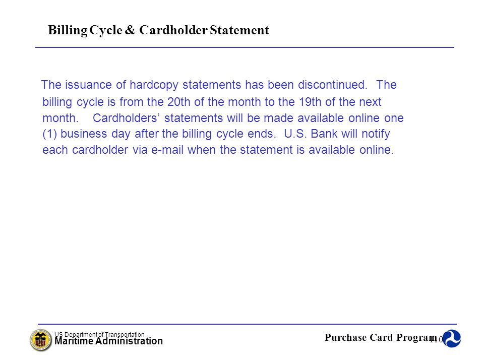 Billing Cycle & Cardholder Statement
