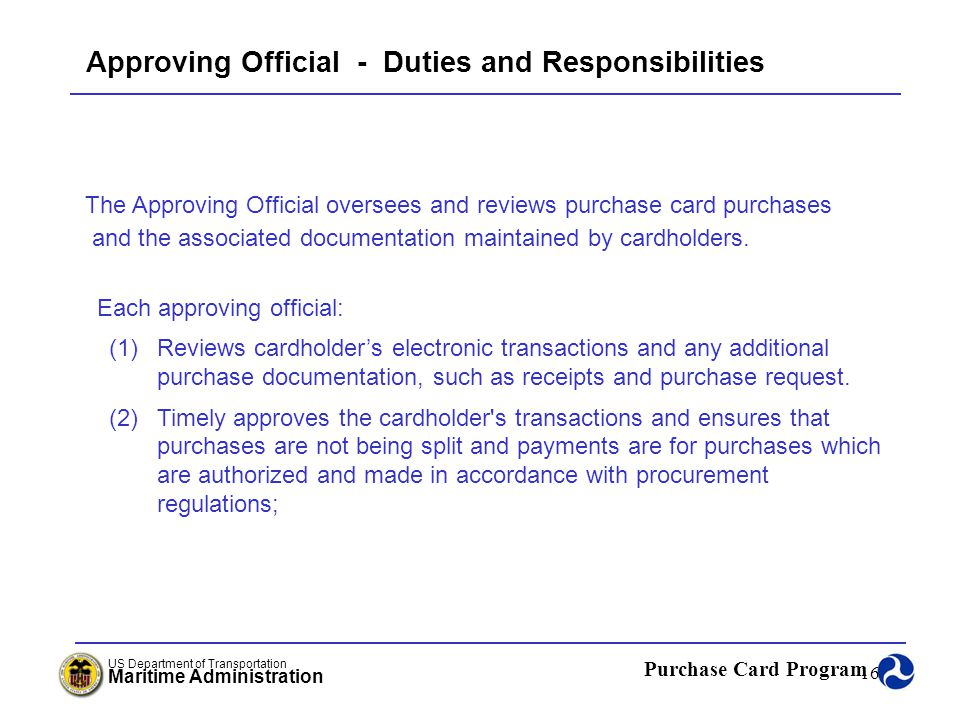 Approving Official - Duties and Responsibilities