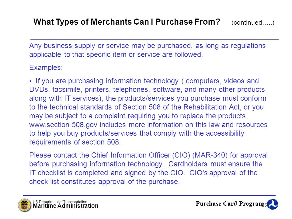 What Types of Merchants Can I Purchase From (continued…..)