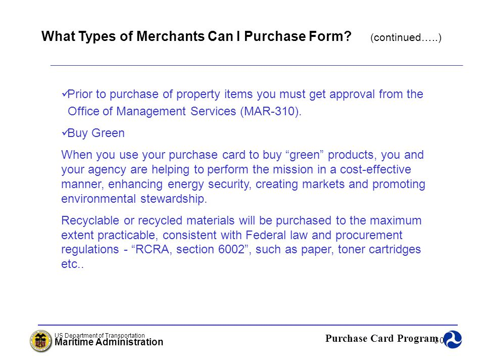 What Types of Merchants Can I Purchase Form (continued…..)