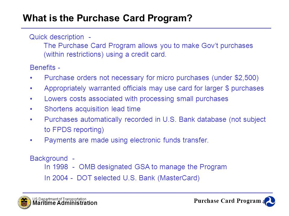 What is the Purchase Card Program