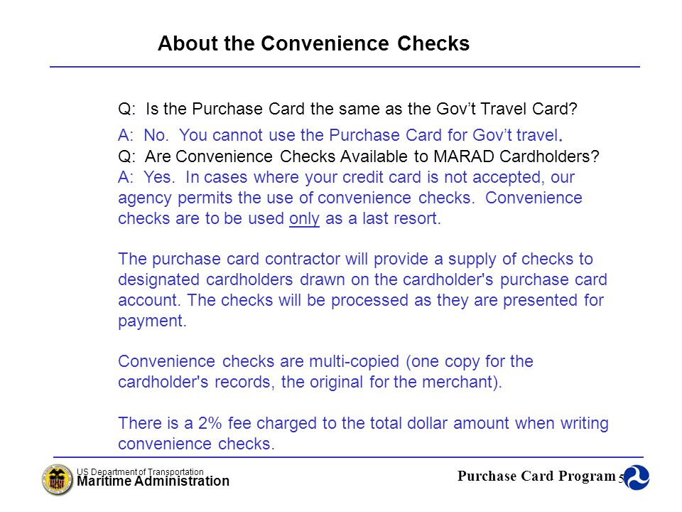 About the Convenience Checks
