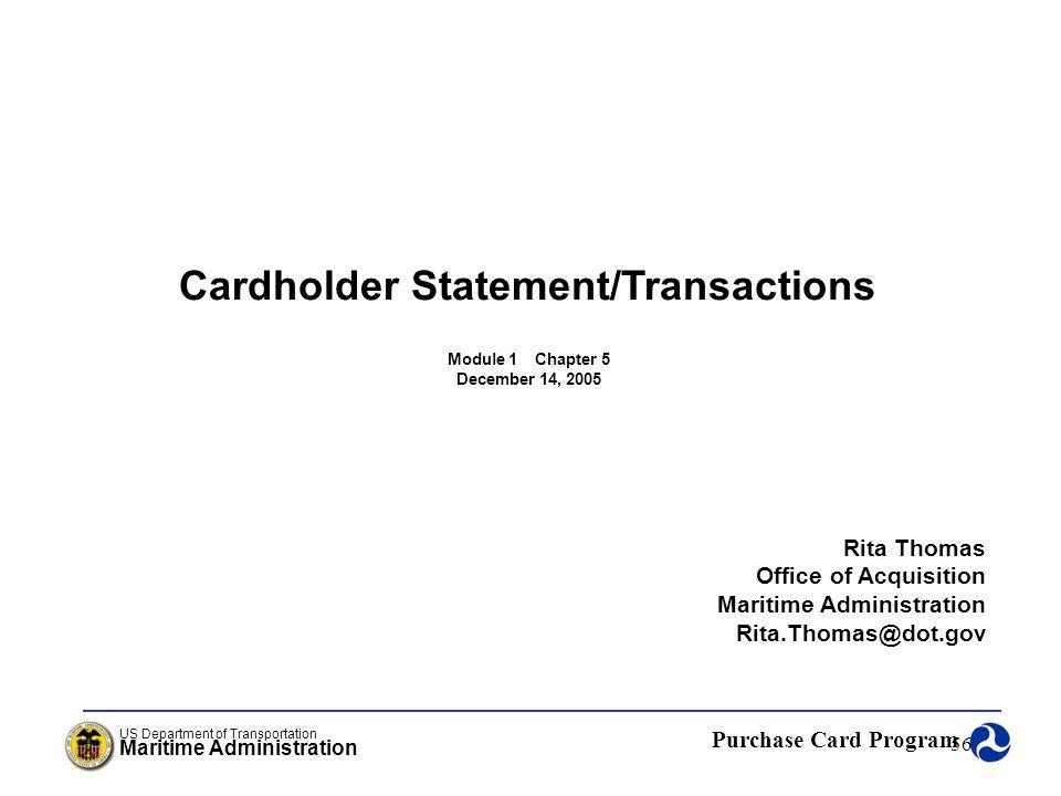 Cardholder Statement/Transactions