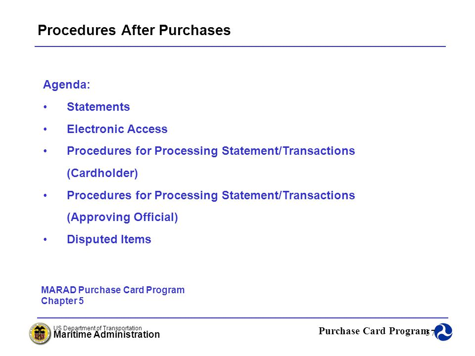 Procedures After Purchases