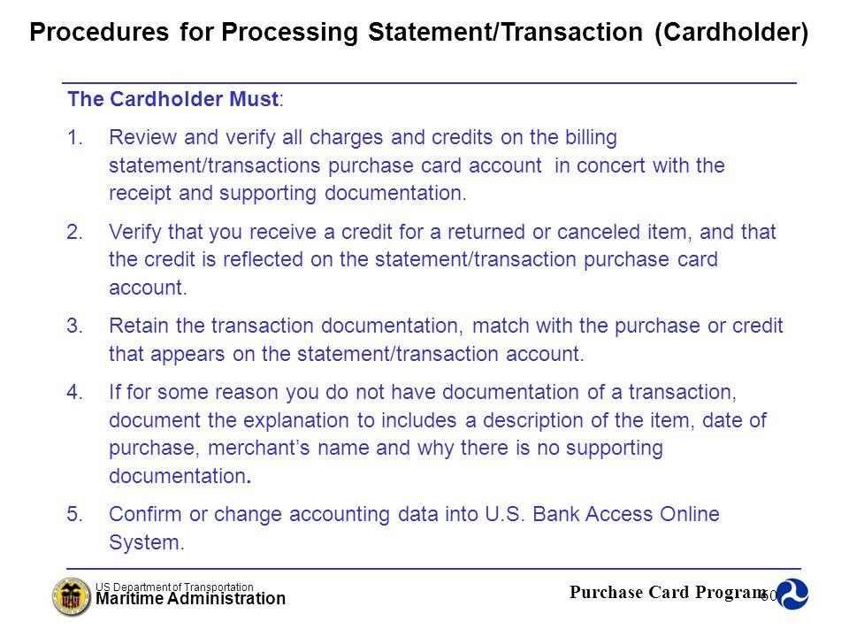 Procedures for Processing Statement/Transaction (Cardholder)