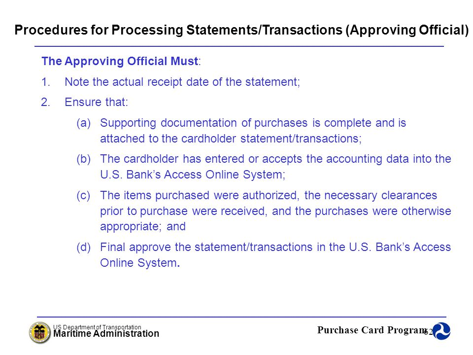 Procedures for Processing Statements/Transactions (Approving Official)