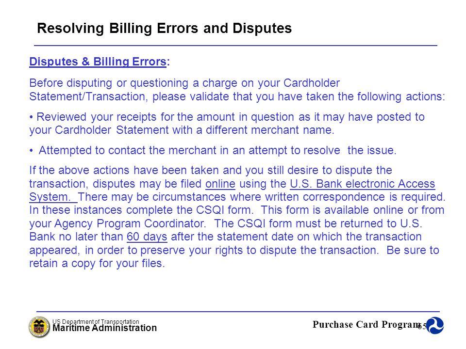 Resolving Billing Errors and Disputes