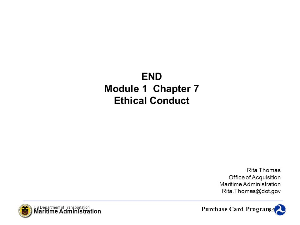 END Module 1 Chapter 7 Ethical Conduct
