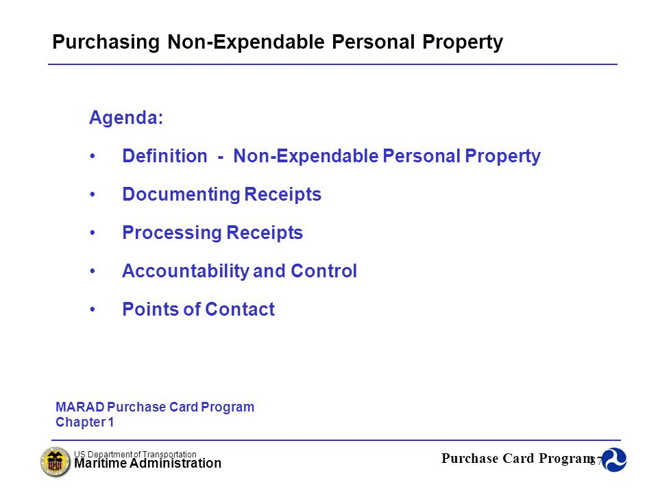 Purchasing Non-Expendable Personal Property