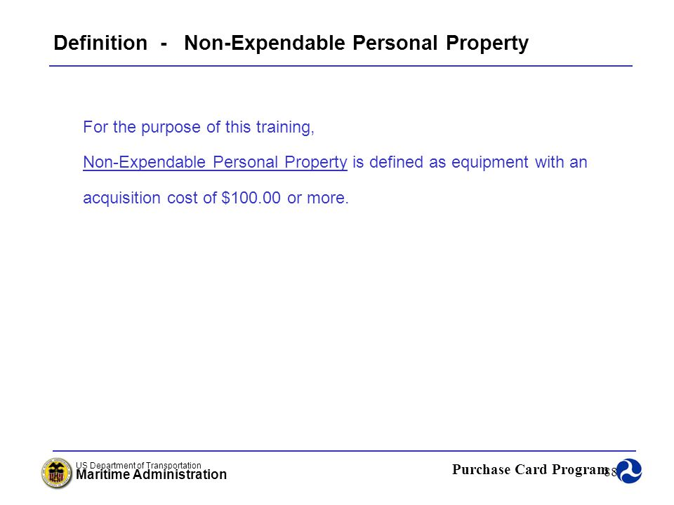 Definition - Non-Expendable Personal Property
